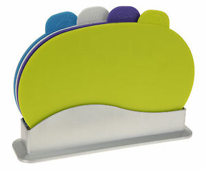 New Multi Colour Coded Hygienic Chopping Boards - Set of 4 with Holder