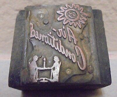 Air Conditioned Sun Letterpress Printing Block Metal Wood