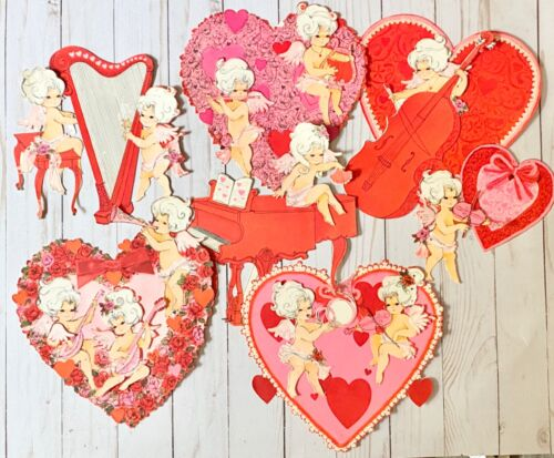 Huge Lot of Vintage Valentines Hearts and Cupid Cutouts