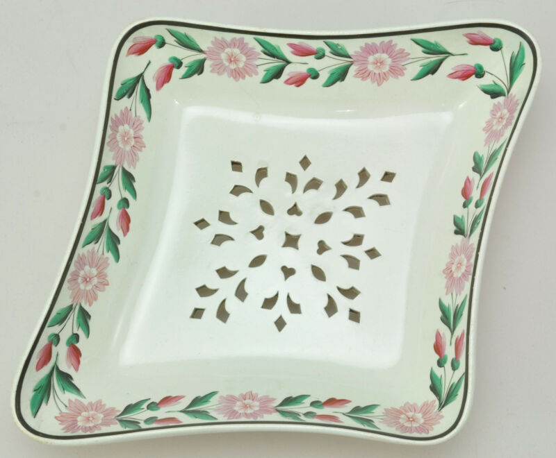 Antique Wedgwood Creamware Strawberry Drainer with Pink Floral Border circa 1800