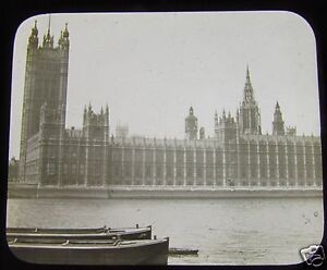 Glass-Magic-lantern-slide-HOUSES-OF-PARLIMENT-LONDON-C1890-VICTORIAN-ENGLAND