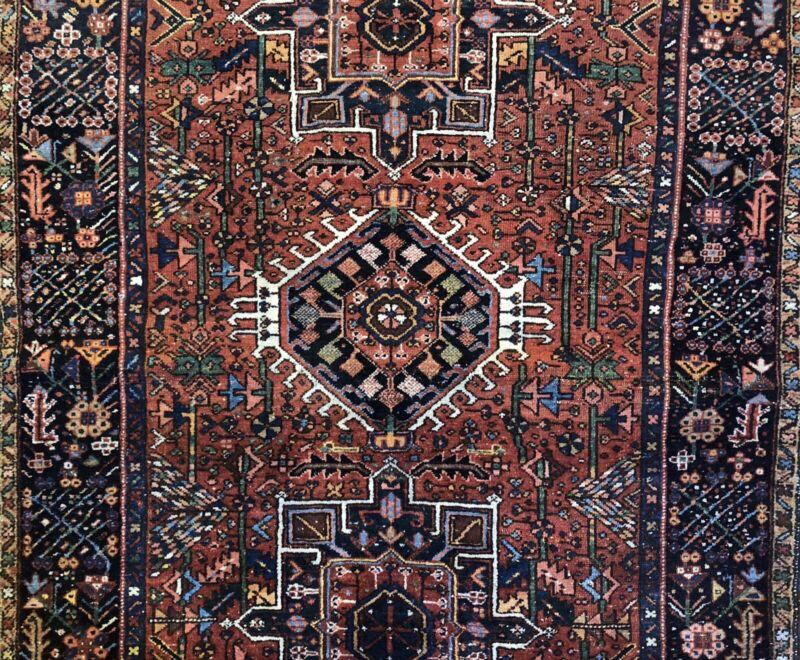 Terrific Tribal - 1930s Antique Oriental Rug - Nomadic Carpet - 4.4 X 6.3 Ft