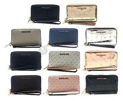 Michael Kors Jet Set Large Leather Multifunction Phone Wristlet Wallet