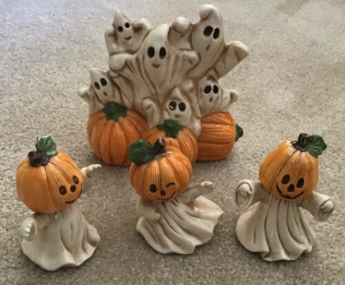 1995 Ceramic Display Halloween Ghosts Goblins and Pumpkin Heads Set Made by TBM