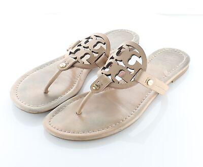 08-12 $198 Women's Sz 8 M Tory Burch Miller Leather Logo Flat Sandals