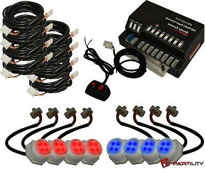 160w 8 Led Bulbs Hide Red Blue Emergency Hazard Warning Strobe Light Kit Haw