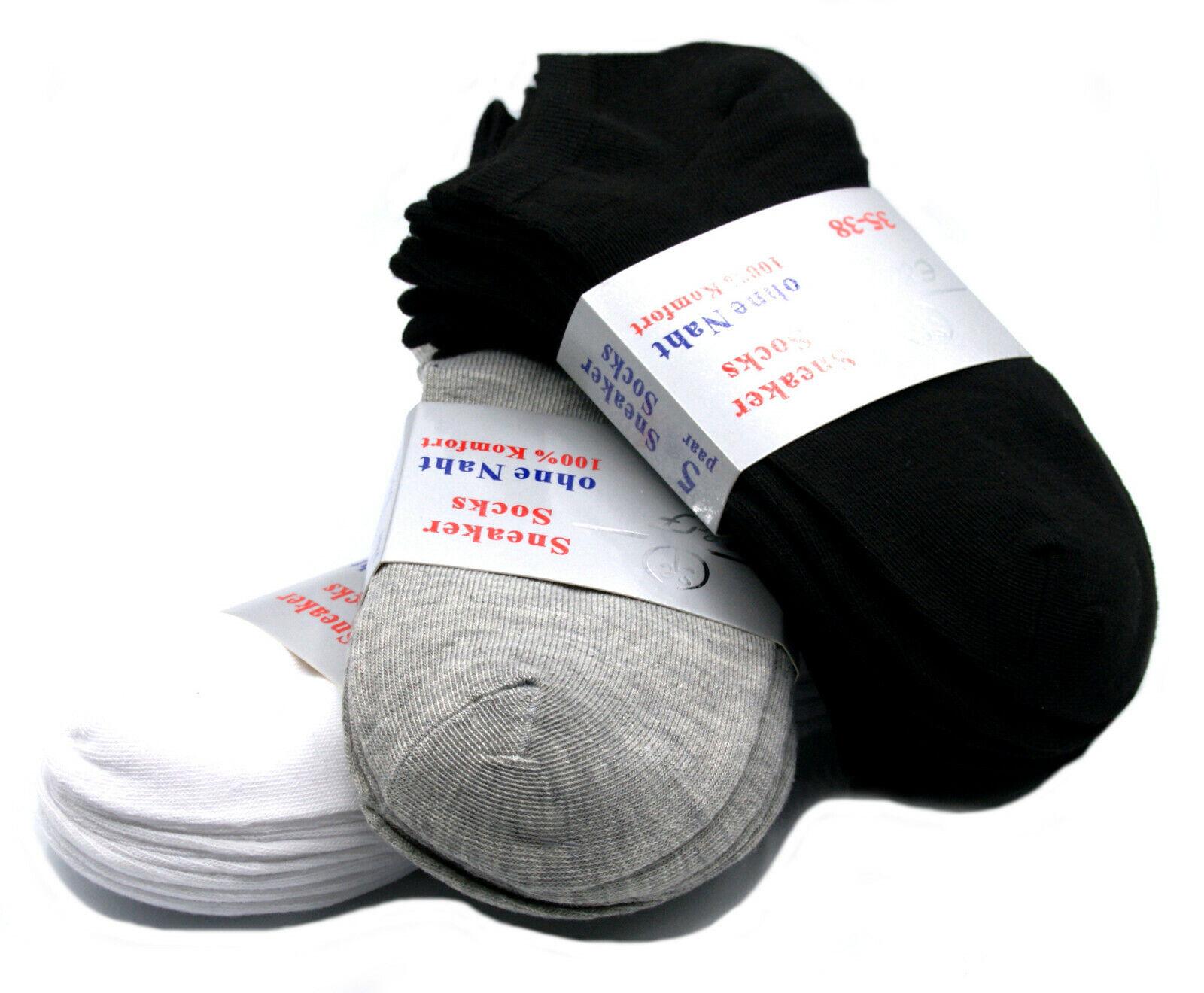 Kurz-Söckchen 95/% Baumwolle Sneakers Trainer Socken 12x Damen Sneaker Socken