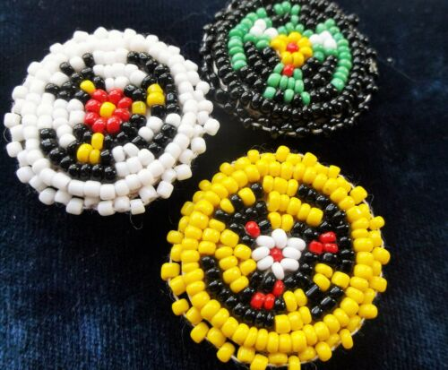 VINTAGE NATIVE AMERICAN GLASS SEED BEAD BUTTON COVERS HANDMADE SET OF 3