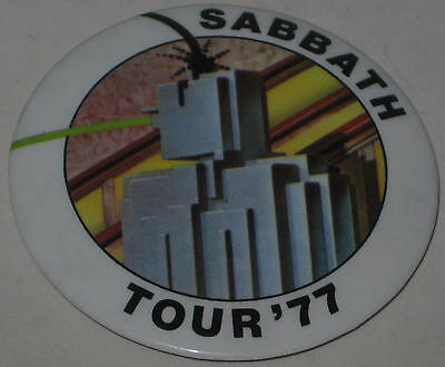 """1977 Black Sabbath 2nd Pin of 2 Pin Set """"Sabbath Tour '77"""" 2.25"""""""