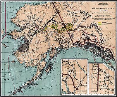 1898 Alaska Geological Survey Map Gold Mining Fields Mines Yukon Klondike Poster