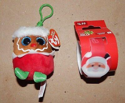 Christmas Mini Ty Baby Beanie Fruitcake   Silicone Led Santa Watch 152R