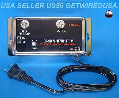 - NEW 36DB CABLE TV ANTENNA INLINE BOOSTER COAX SIGNAL AMPLIFIER WITH GAIN CONTROL