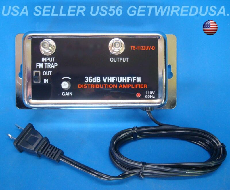 NEW 36DB CABLE TV ANTENNA INLINE BOOSTER COAX SIGNAL AMPLIFIER WITH GAIN CONTROL