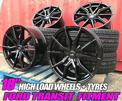 "18"" Black M Sport Aluwerks Alloy Wheels Tyres Ford Custom Van Kombi Transit new"
