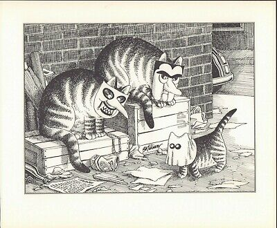Kliban Cat Halloween (B Kliban Cats HALLOWEEN CATS Vintage ORIGINAL Funny Cat Art Print)
