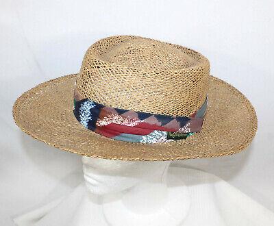 d943b052a7e53 Chi-Chi Rodriguez Handwoven Straw Sun Golf Hat Small Medium Colorful Band  USA