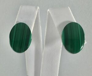 Classic Genuine Malachite Cabochon Solid 14kt Yellow Gold Stud Earrings,3/4