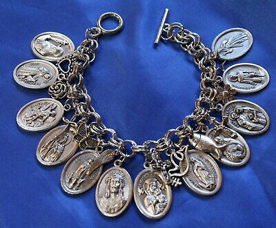 Maria Faustina Charm On A Child Sized 5 3//4 Inch Oval Eye Hook Bangle Bracelet St