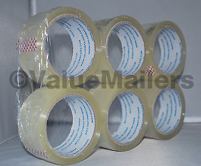 6 Rolls Quality Packaging 2 Mil Box Carton Sealing Tape 2x55 Yards 2 X 165