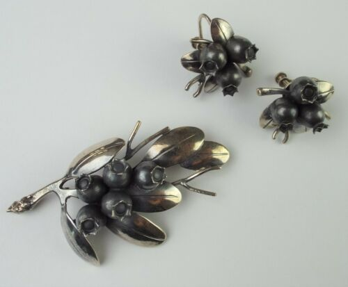 Clifford Russell Sterling Silver Blueberries Brooch Pin & Blueberries Earrings