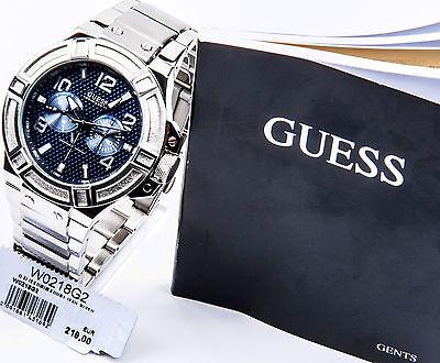 GUESS Edelstahl silber blau Herrenuhr Uhr NEU W0218G2 online kaufen
