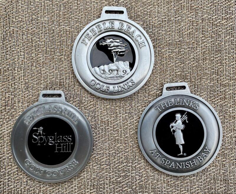 Set Of 3 Pebble Beach Resort Metal Bag Tags. Pebble, Spyglass & Spanish Courses