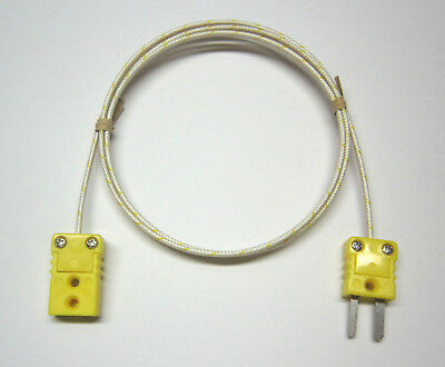 K-type Thermocouple Extension Cable Wire Braided Fiberglass Mini Connectors Ft