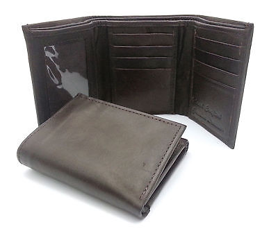 Trifold Genuine Leather Brown Plain Compact Wallet  With Zipper Currency - Compact Zipper Wallet