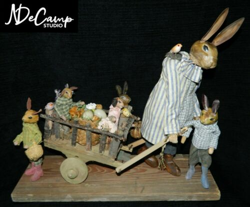 Incredible NORMA DECAMP Mother RABBIT & Bunnies Pulling WOODEN Cart Grouping WOW
