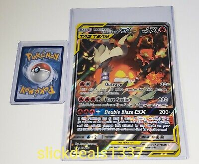 Reshiram and Charizard GX SM 201 Pokemon JUMBO sized Card + Hard Loader Sleeve