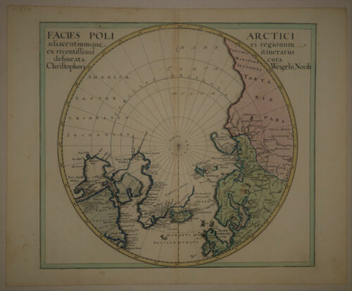 1734 Genuine Antique World in Hemispheres. 2 maps. Polar Projections. by Weigel