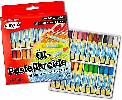 Öl Pastellkreide ~ 24 kräftige Farben ~ Ø 11mm ~ Ölkreide ~ Pastellkreide  ~ NEU