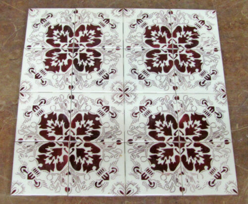 Lot of 16 x MEXICAN Eagle Ceramic Tiles Geometric Maroon/Brown & White SEASA