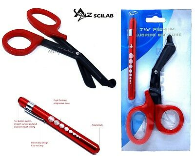 Red Reusable Aluminum Pocket Penlightfluoride Coated Trauma Paramedic Shears