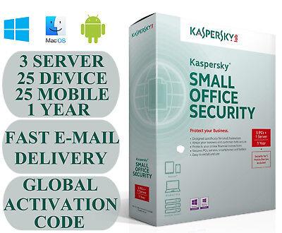Kaspersky Small Office Security V5-V6 3 Server 25 DEVICE + 25 MOBILE + 1 YEAR, usado segunda mano  Embacar hacia Spain