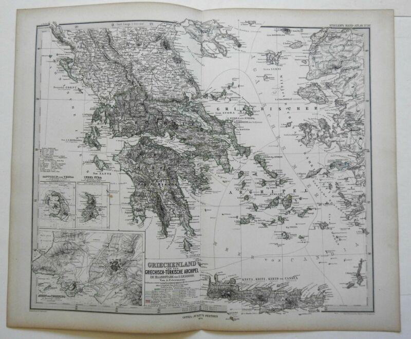 Kingdom of Greece Athens Santorini Syra Crete 1874 Stieler detailed map