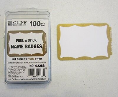 50 Gold Border Badges Name Tags Labels Id Stickers Peel And Stick Adhesive