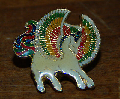 (2) 1980's Colorful Pegasus Winged Horse Enamel Pin Lapel