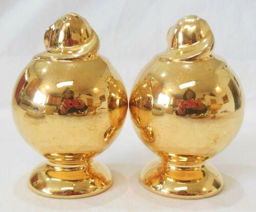 Vintage 22K Gold Painted Round Footed Porcelain Salt & Pepper Shaker Set