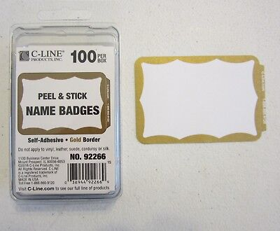 75 Gold Border Badges Name Tags Labels Id Stickers Peel And Stick Adhesive