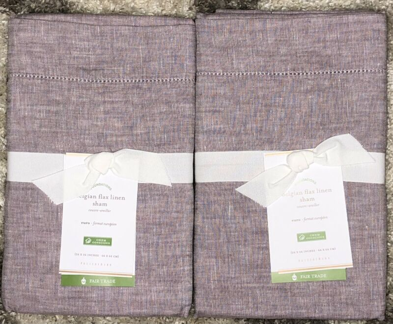 Pottery Barn Belgian Flax Linen Pillow Shams - Set of 2 - Euro - Lavender - New