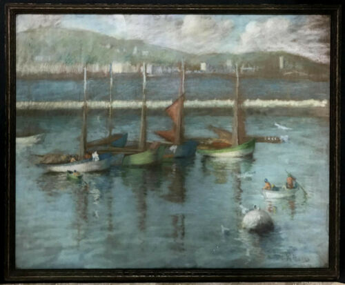 SEASCAPE Pastel ~ SAILBOATS OFF CORNWALL ~ British IMPRESSIONIST 1934 Wm. Pascoe