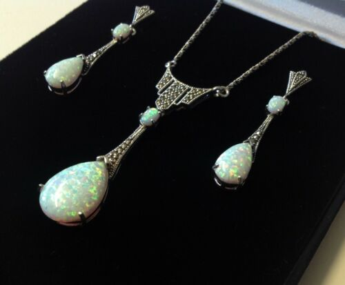 Antique style Sterling Silver Opal Marcasite Peardrop Necklace & Earrings Set