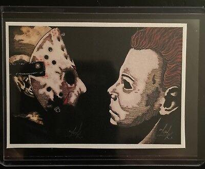 Jason Voorhees Vs Michael Myers Sketch Card STICKER Print Artist Tony Keaton - Michael Myers Vs Jason Voorhees