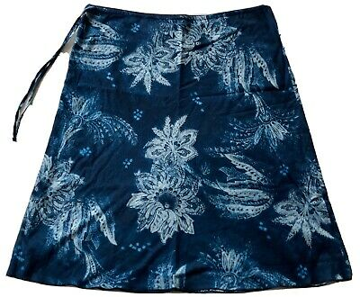 DKNY Jeans Skirt Sz 6 Blue Flower Floral Skirt Side Zip Drawstring