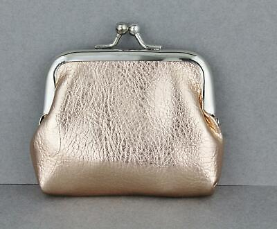 Rose Gold soft Faux leather coin purse change pouch kiss lock snap top -