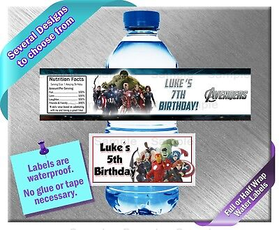 Avengers ~ Water Bottle Labels ~ Birthday Party Baby Shower ~ Super Hero ()