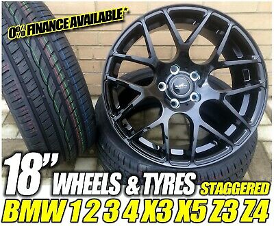 "Alloy Wheels + TYRES 18"" M3 DTM CSL Black Staggered BMW 3 Series E90 E91 E92 E93"