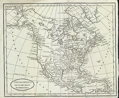 Original Map of North America from Best Authorities by Benjamin Baker c1797