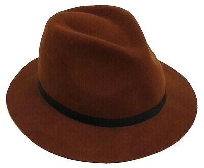 MENS BROWN SHORT BRIM PURITAN HAT S/M 58CM](Puritan Hats)